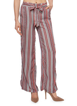Printed Soft Knit Palazzo Pants with Sash Belt - 1061051068439