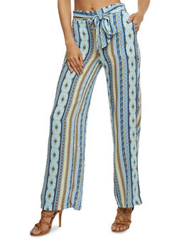 Printed Soft Knit Palazzo Pants with Sash Belt - YELLOW - 1061051068439