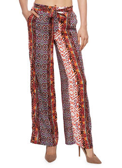 Printed Soft Knit Palazzo Pants with Sash Belt - ORANGE - 1061051068439