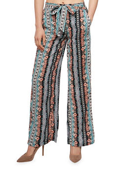 Printed Soft Knit Palazzo Pants with Sash Belt - CORAL - 1061051068439
