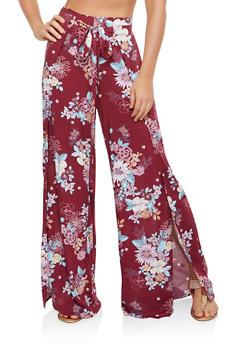 Floral Split Leg Palazzo Pants - 1061051068463
