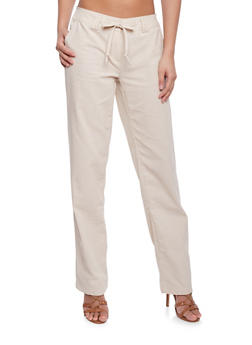Tie Front Double Loop Linen Pants - 1061051069341