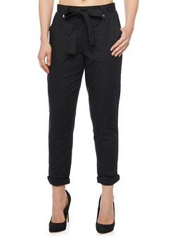 Classic Cuffed Linen Pants With Tie Belt - 1061051069345