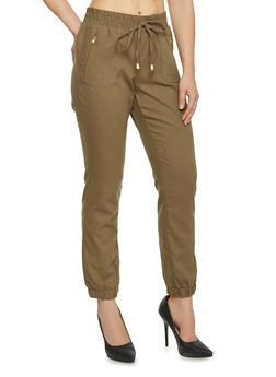 Drawstring Linen Joggers with Gold Zipper Accents - 1061051069347