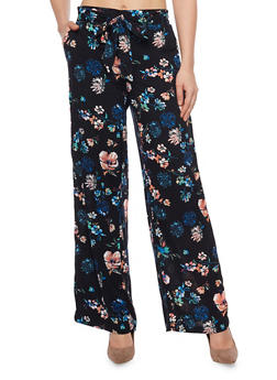 Belted Floral Print Palazzo Wide Leg Pants - NAVY - 1061051069348