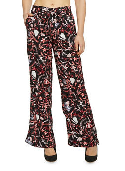 Belted Floral Print Palazzo Wide Leg Pants - CORAL - 1061051069348