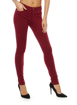 Stretch Knit Push Up Pants - BURGUNDY - 1061054262149