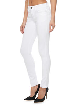 Classic Solid Skinny Jeggings - WHITE - 1061054266587