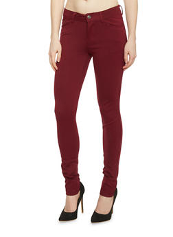 Classic Solid Skinny Jeggings - BURGUNDY - 1061054266587