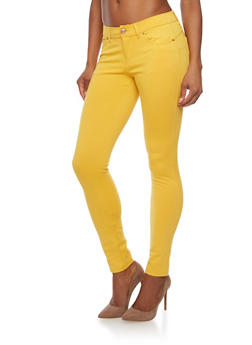 Solid Knit Jeggings - MUSTARD - 1061054266941