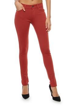 Skinny Stretch Pants - WINE - 1061054267085
