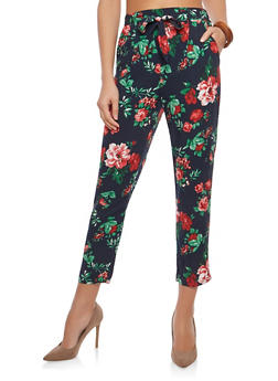 Floral Tie Front Casual Pants - 1061054269771