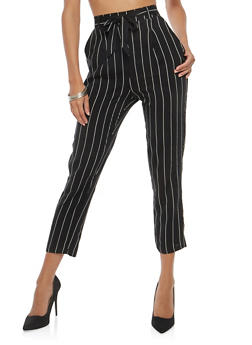 Striped Tie Front Dress Pants - 1061054269773