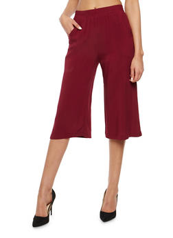 Solid Cropped Palazzo Pants - 1061054269866