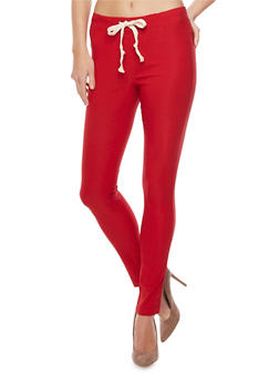 Drawstring Waist Stretch Knit Pants - RED - 1061058932313