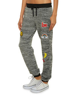 Space Dye Joggers with Emoji Patches - 1061060586172