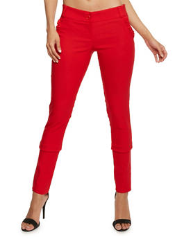 Solid Casual Pants with Ruffle Trim Pocket - 1061062412256