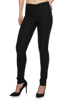 High Waisted Skinny Pants with Four Buttons - 1061062416488