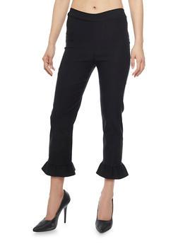 Stretch Knit Dress Pants with Ruffle Leg Detail - 1061062416531