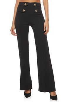 Crepe Knit Tabbed Button Front Dress Pants - 1061062416604