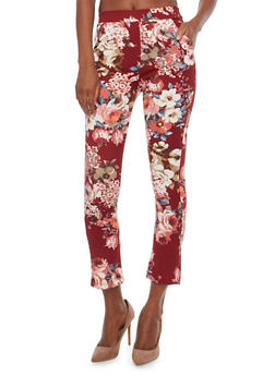 Floral Dress Pants - BURGUNDY - 1061062416605