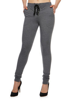Solid Lace Up Joggers - CHARCOAL - 1061062700879
