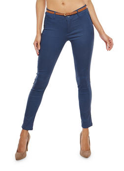 Belted Cropped Skinny Pants - 1061062701569