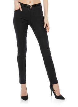 Black Belted Stretch Dress Pants - 1061062701575