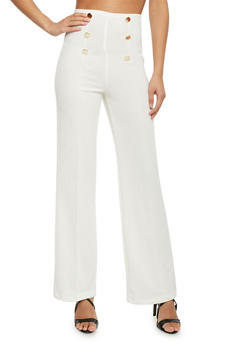 6 Button High Waisted Sailor Pants - OFF WHT - 1061062701632