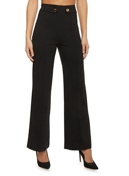 High Waist Pleated Wide Leg Dress Pants - 1061062701633