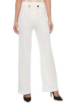High Waist Pleated Wide Leg Dress Pants - IVORY - 1061062701633