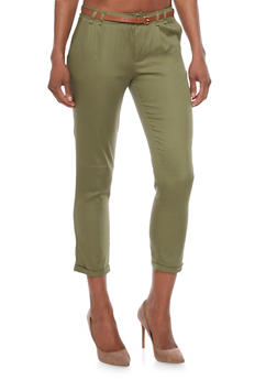 Belted Twill Pants with Cuffed Ankles - OLIVE - 1061062708085