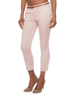 Belted Twill Pants with Cuffed Ankles - BLUSH - 1061062708085