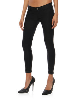 Solid Cuffed Skinny Pants - 1061062708099