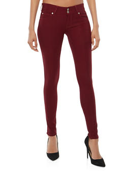 Two Button Burgundy Stretch Jeggings - 1061069699038