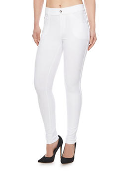 Ponte Jeggings with Rhinestone Buttons - 1061072711396