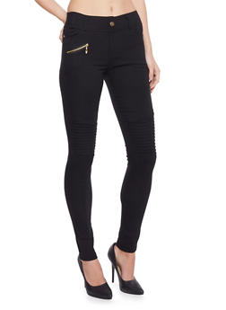 Moto Jeggings with Faux Zipper Pocket - 1061072711677