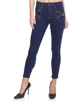 Jeggings with Zipper Details - NAVY - 1061072715056