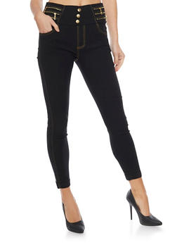 High Waisted Jeggings with 3 Buttons and Zipper Details - 1061072716506