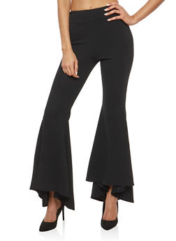 Crepe Knit High Low Bell Bottom Pants - 1061074015776