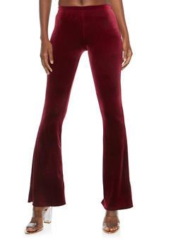 Velvet Flared Pants - BURGUNDY - 1061074015782