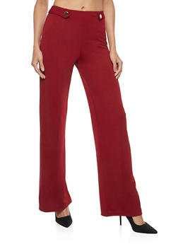 Crepe Knit Two Button Palazzo Pants - 1061074015785