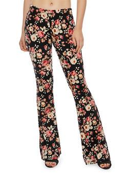 Printed Flared Velvet Leggings - 1061074015786