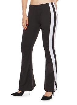 Side Stripe Soft Knit Flared Pants - 1061074015790