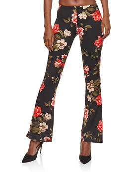 Floral Crepe Knit Flared Pants - BLACK/MAUVE 60402 - 1061074015792