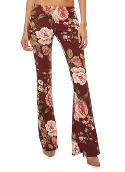Floral Crepe Knit Flared Pants - BURGUNDY 71027 - 1061074015792