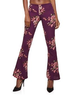 Floral Crepe Knit Flared Pants - 1061074015792