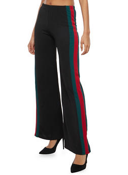 Crepe Knit Side Stripe Palazzo Pants - 1061074015796
