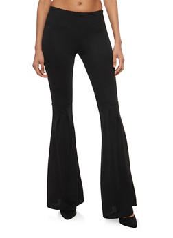 Crepe Knit Pleated Bell Bottom Pants - 1061074015797