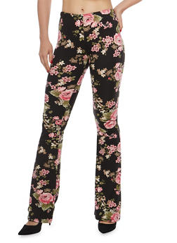 Printed Flared Pants - BLACK/ROSE - 1061074015798